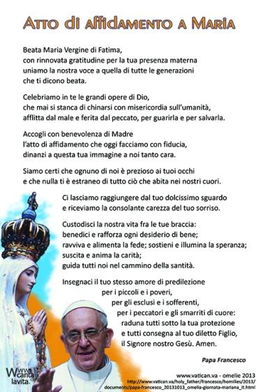 Atto di affidamento a Maria di Papa Francesco