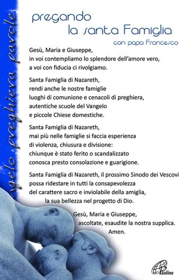 Alla sacra Famiglia - preghiera di papa Francesco