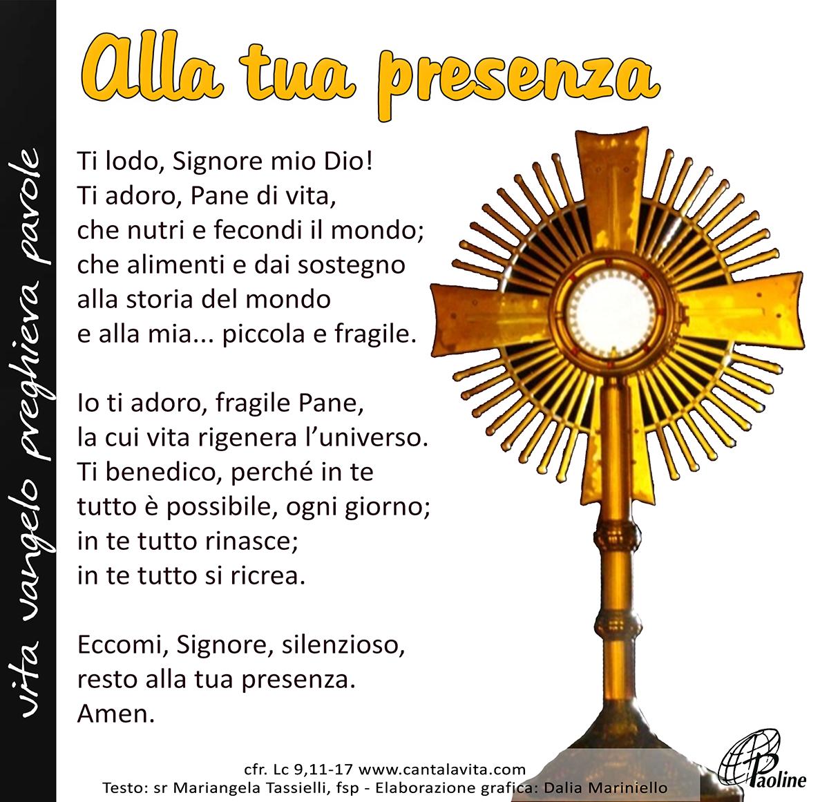 Alla Tua Presenza Buona Domenica Solennità Del Corpus